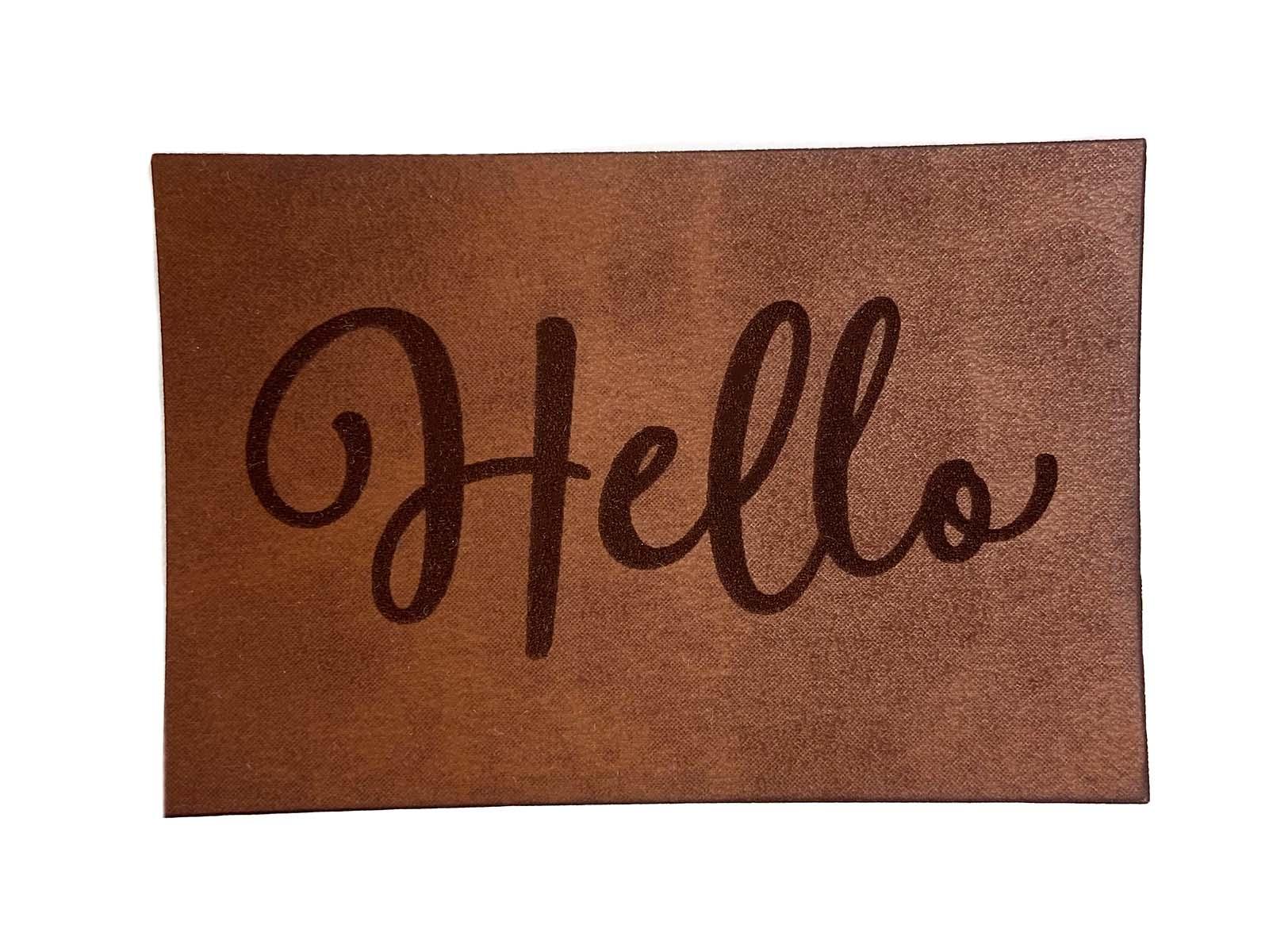 Label aus Kunstleder - Hello