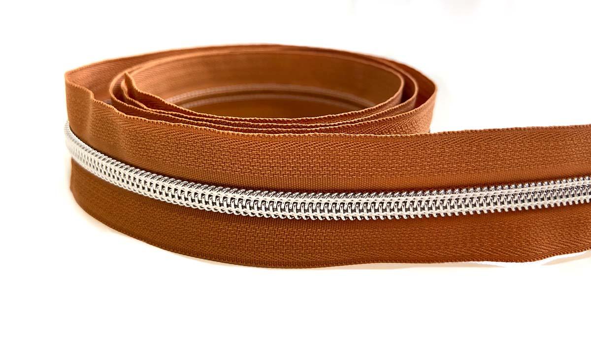 Reißverschluss in braun/silber - 1m - endlos