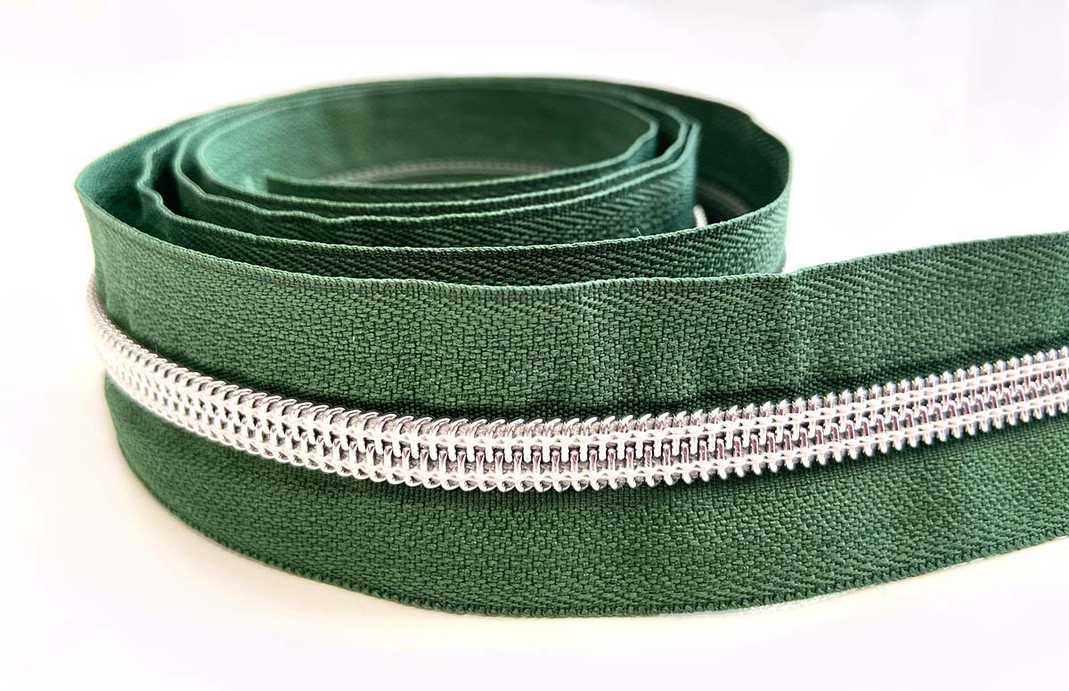 Reißverschluss in grün/silber - 1m - endlos