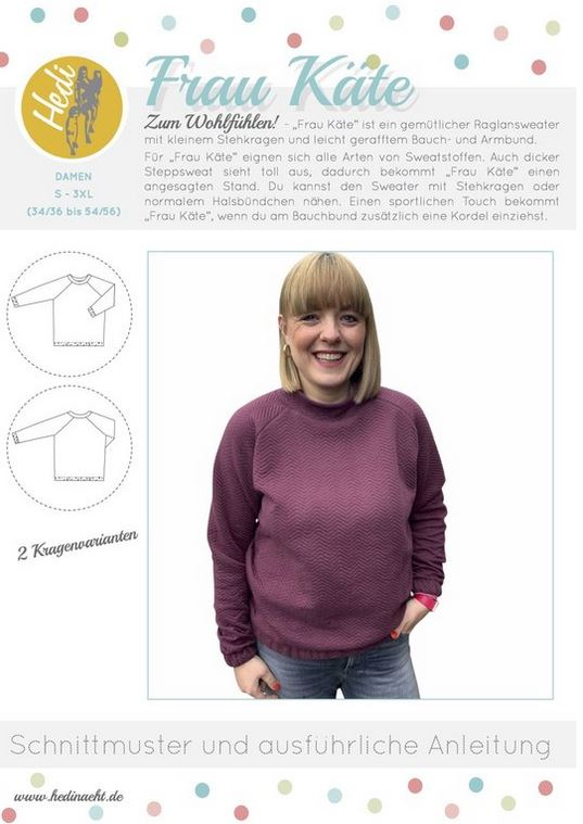 Papierschnittmuster - Frau Käthe Raglansweater | HEDI NÄHT