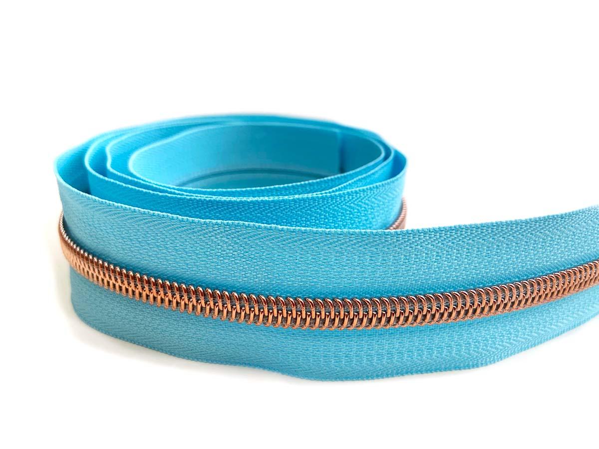 Reißverschluss in hellblau/rosègold - 1m - endlos