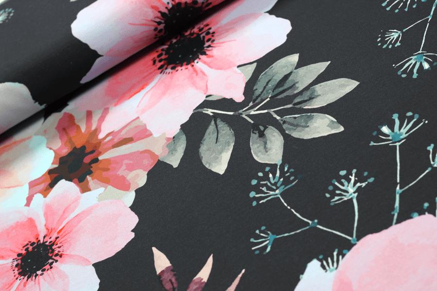 French Terry Poppy Flower in schwarz