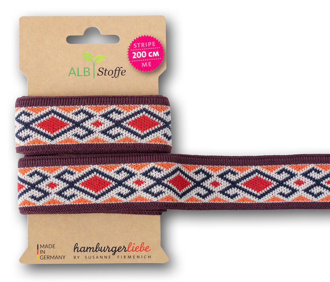 "Jacquard-Band - STRIPE ME ""Icon"" in rot/orange 3,5 cm - HAMBURGER LIEBE & ALBSTOFFE"