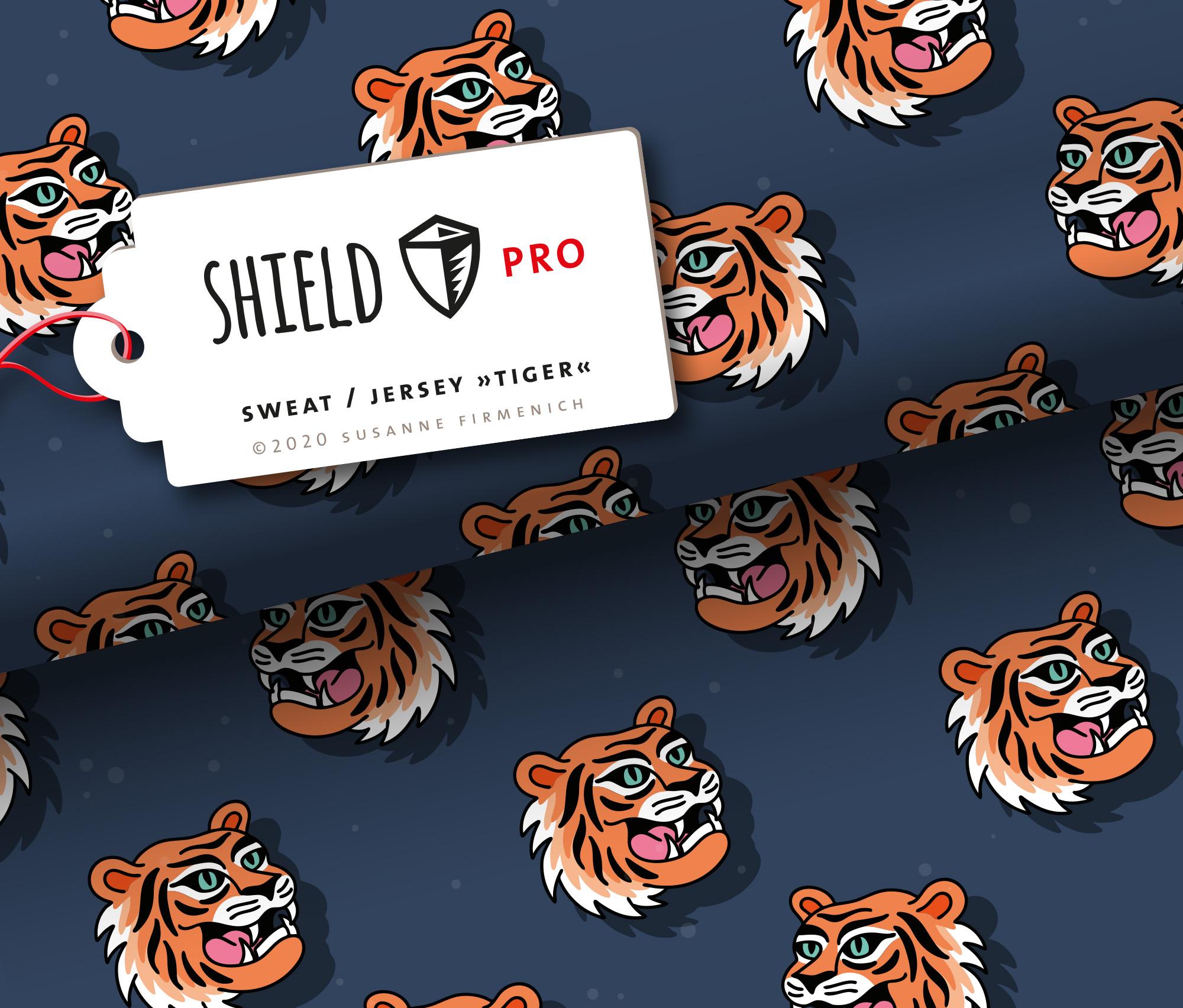 Sweat Shield Pro - Tiger blau antibakteriell von Hamburger Liebe & Albstoffe.