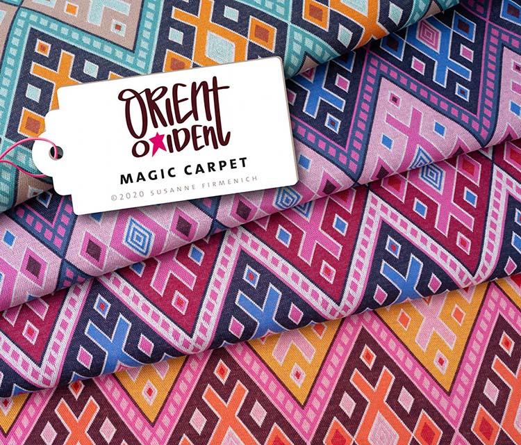 "Bio-Jacquard-Jersey - ORIENT OXIDENT ""Magic Carpet"" in orange - HAMBURGER LIEBE & ALBSTOFFE"
