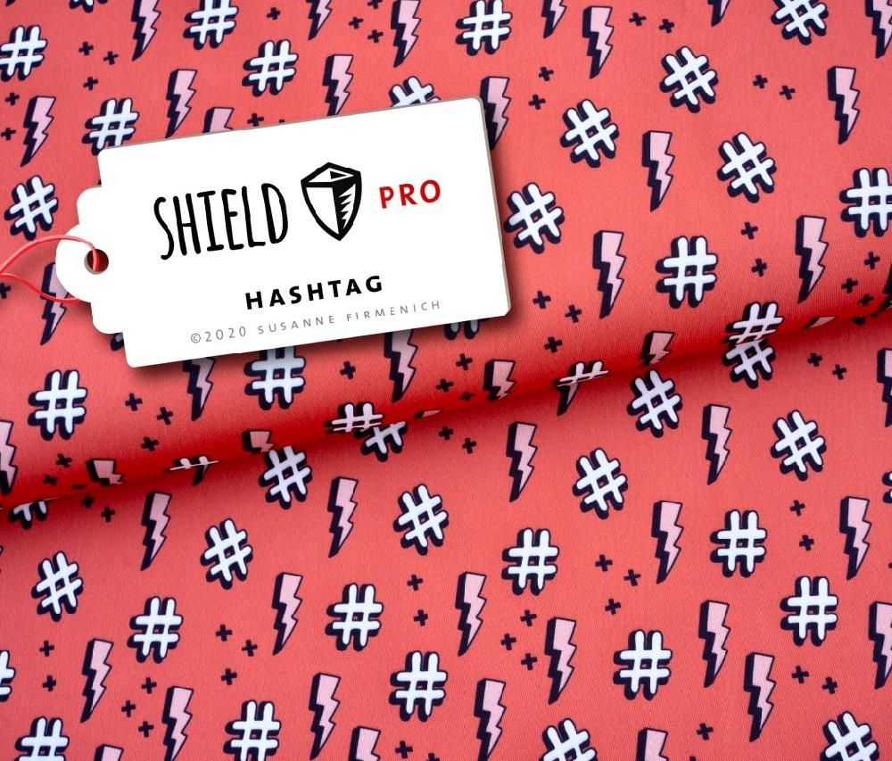 Shield Pro- Hashtag orange/rot von Hamburger Liebe - antimikrobiell für Atem-und Mundmasken!
