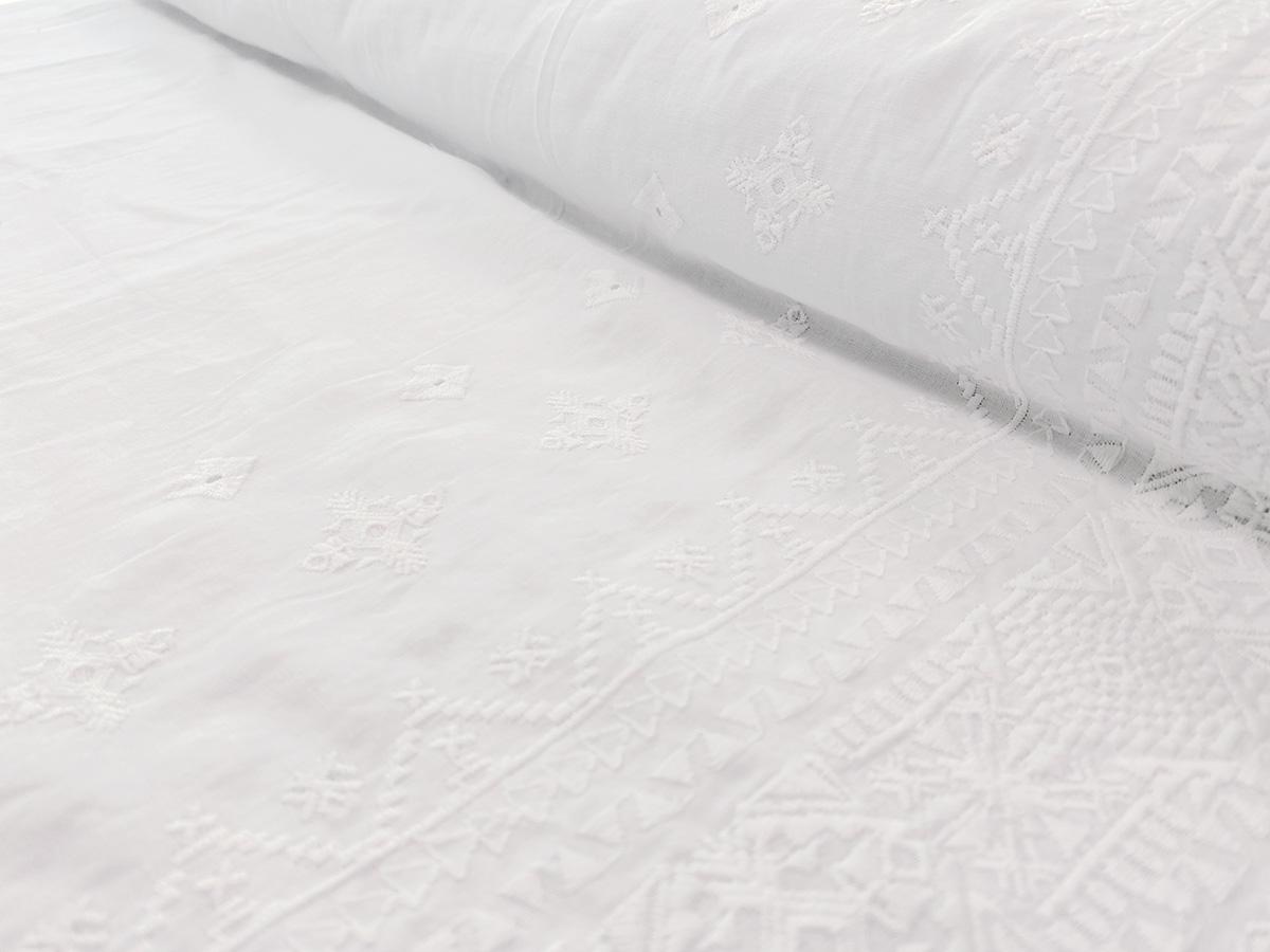 Webware Baumwolle - Muster - weiß