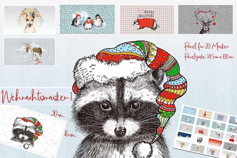 Bio-Baumwolle Panele Weihnachtsmasken 1 für Gesichtsmasken von Lillestoff