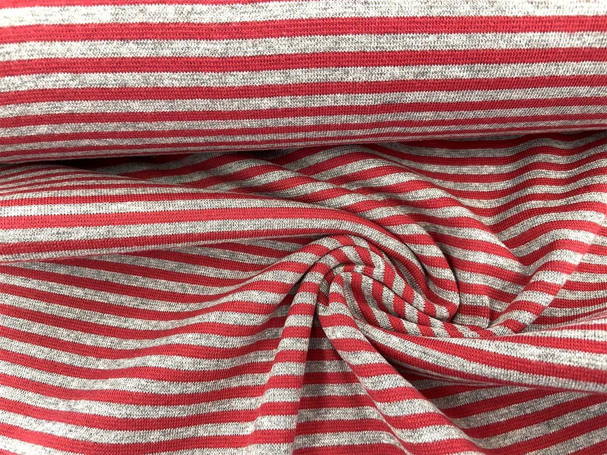 Bündchen - rot/grau gestreift