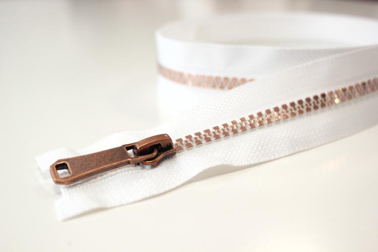Jacken Reißverschluss teilbar 65cm in weiß-roségold