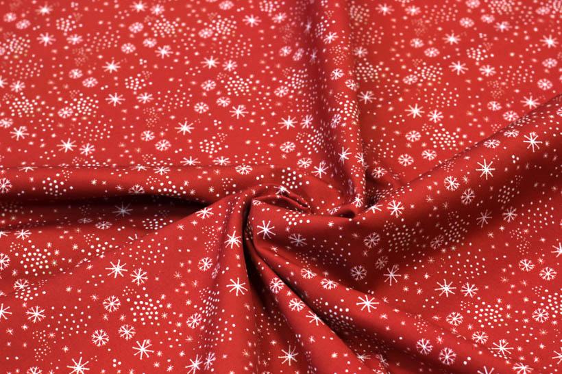 Dekostoff aus Baumwolle - Flocon de neige in rot von Hilco