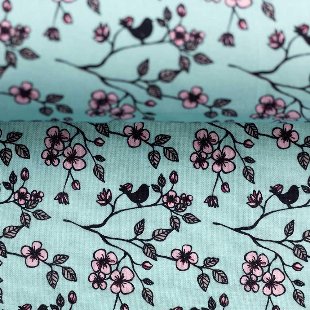 Webware Baumwolle - Valerie Papillon Blumen by Steinbeck - mint - Swafing