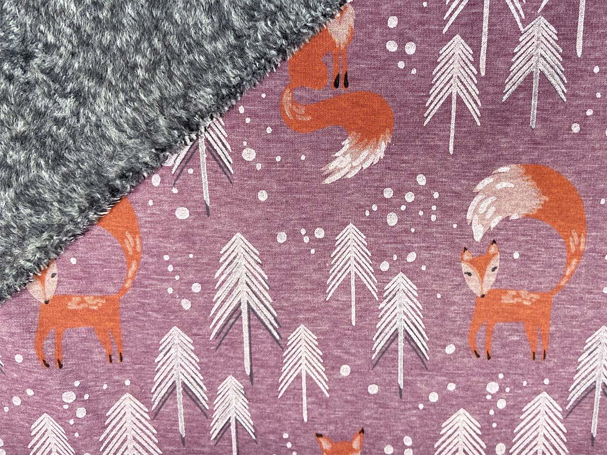Alpenfleece - Eiger mit Füchsen in rosa