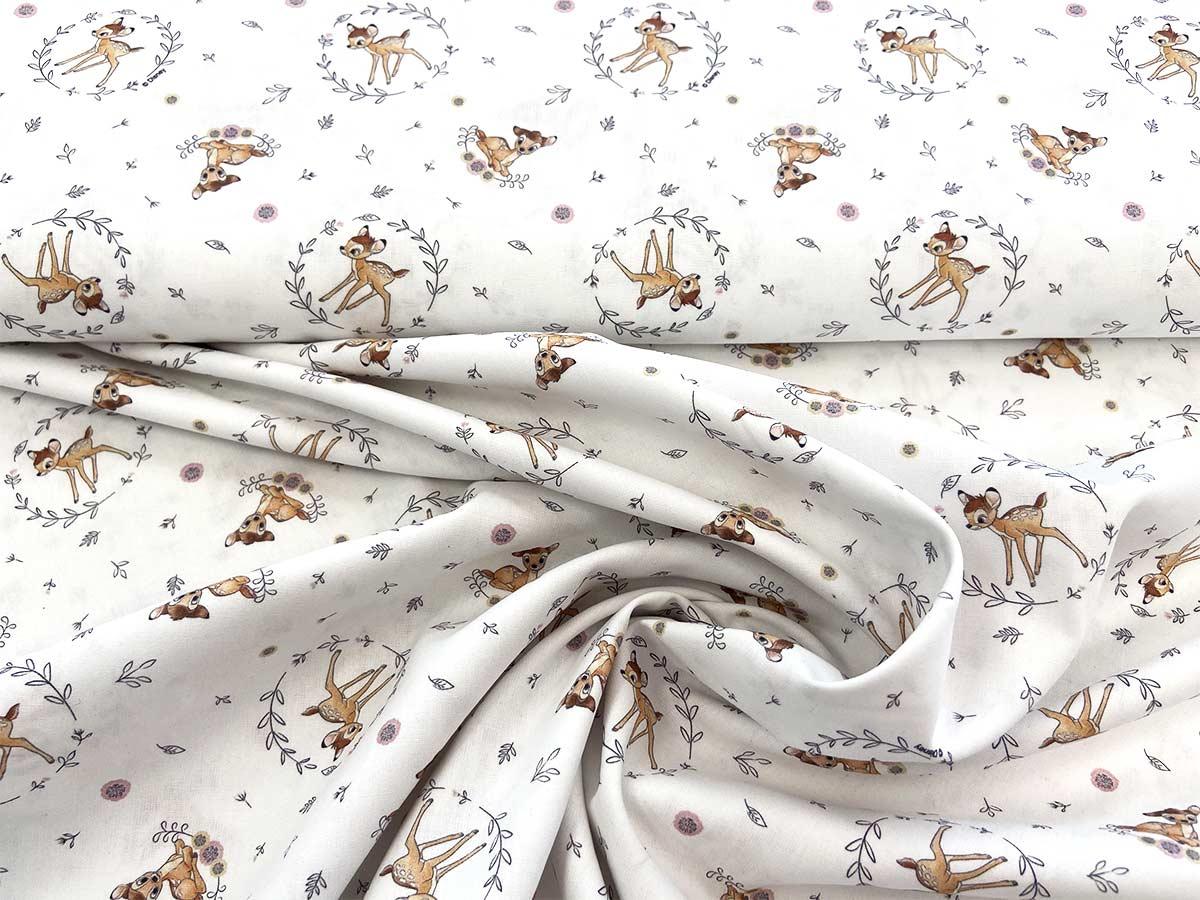 Webware Baumwolle - Bambi in weiß