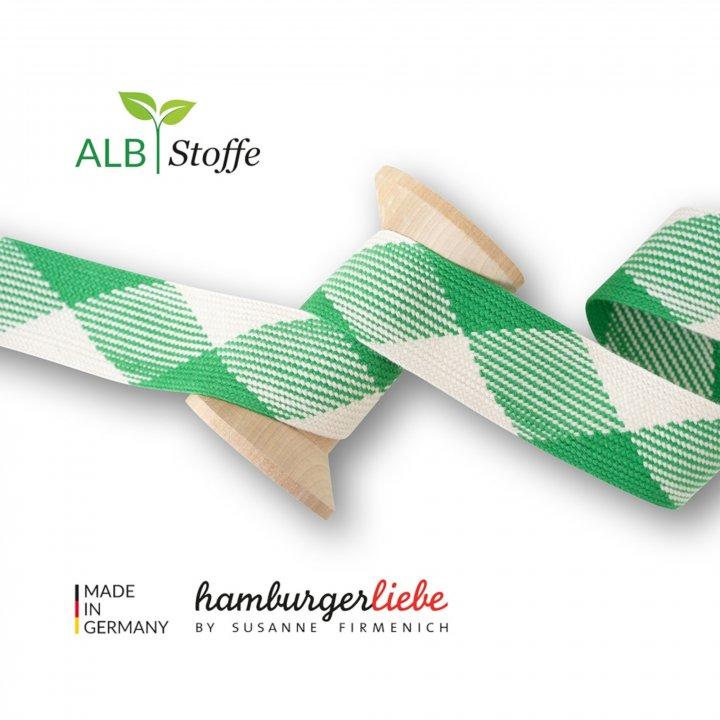 "Kordeln - TWIST ME ""Flat"" grün / weiß  3,5 cm - HAMBURGER LIEBE & ALBSTOFFE"