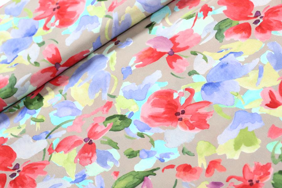 Viskose Webware mit Wasserfarben-Blumen | SEEMANNSgarn