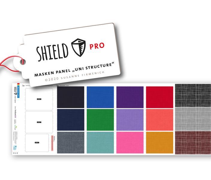 Shield Pro - Panel Uni Structure eckig von Hamburger Liebe & Albstoffe - antimikrobiell für Atem-und Mundmasken!
