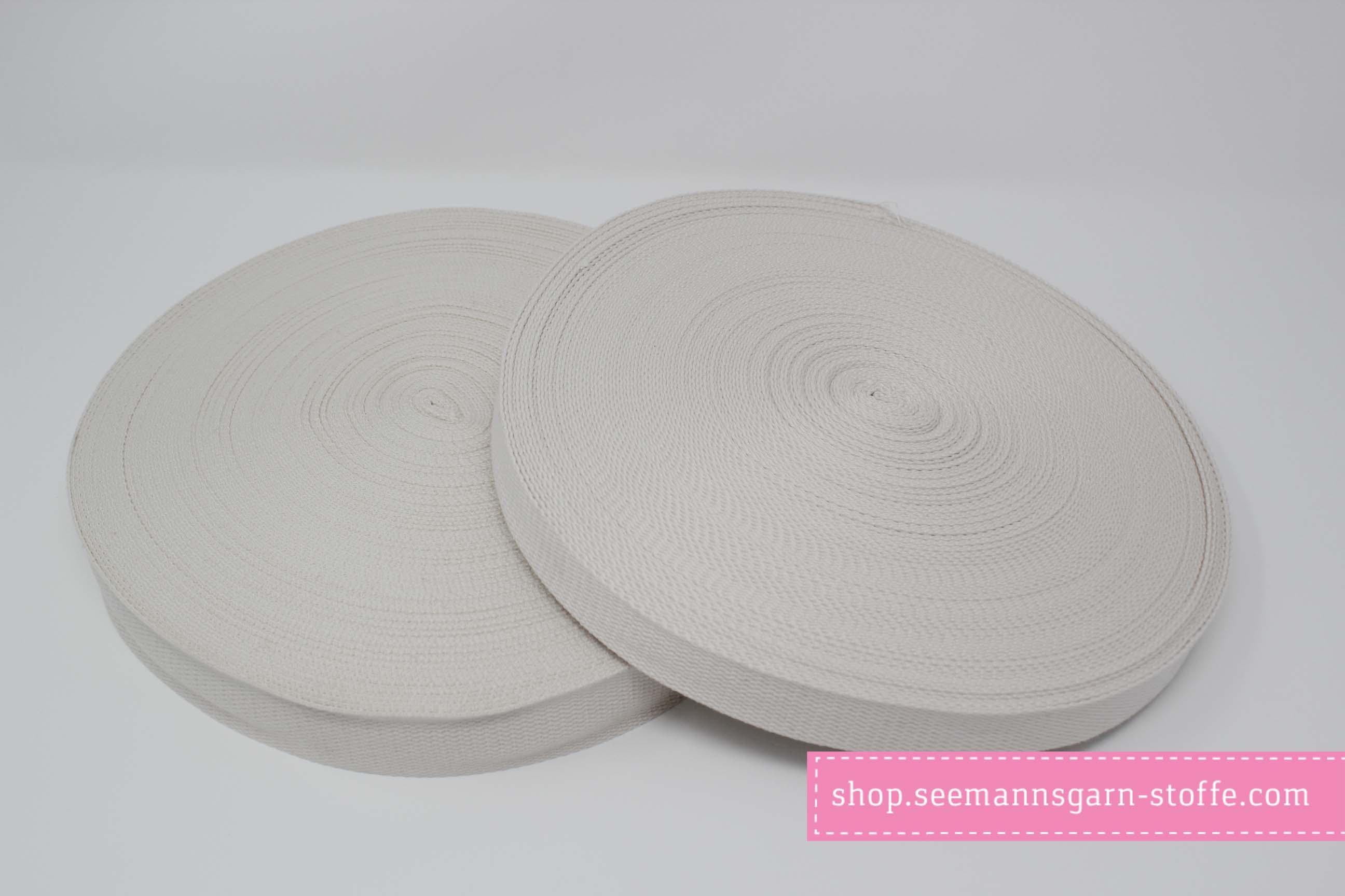 Baumwoll Gurtband cremeweiß 25 mm