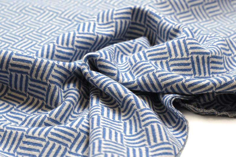 "Jacquard aus recycelten Fasern ""Stripes"" in blau"