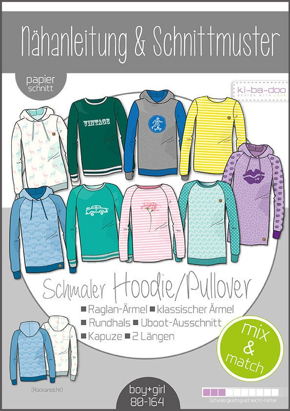 KI-BA-DOO Mix & Match Hoodie/Sweater Papierschnittmuster