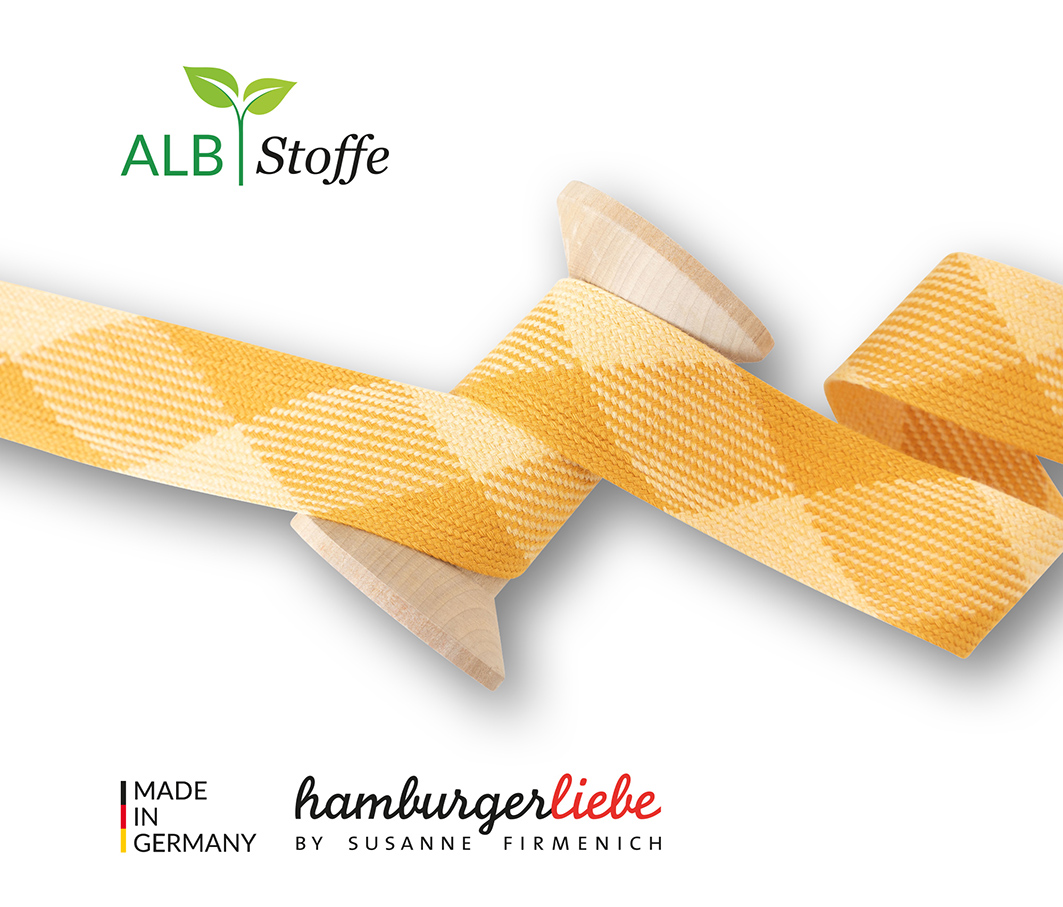 "Kordeln - TWIST ME ""Flat"" gelb 3,5 cm  - HAMBURGER LIEBE & ALBSTOFFE"