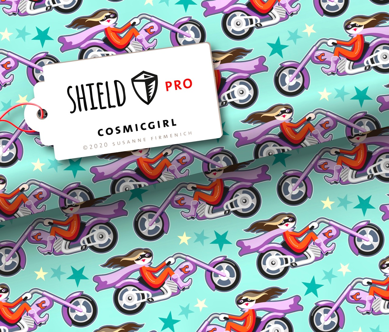 Shield PRO KIDS - Cosmicgirl Mint von Hamburger Liebe & Albstoffe - antimikrobiell für Atem-und Mundmasken!
