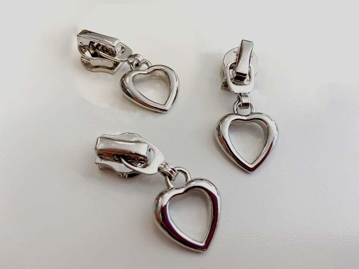 Zipper für Reißverschlüsse - Herz/silber