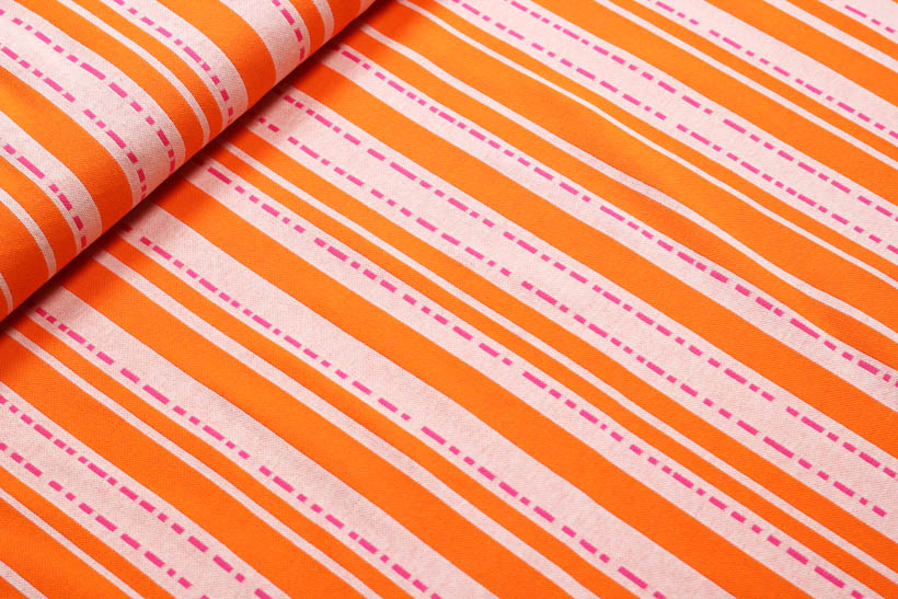 "Jacquard - BLOOM ""Pin Stripes"" orange  - HAMBURGER LIEBE & ALBSTOFFE"