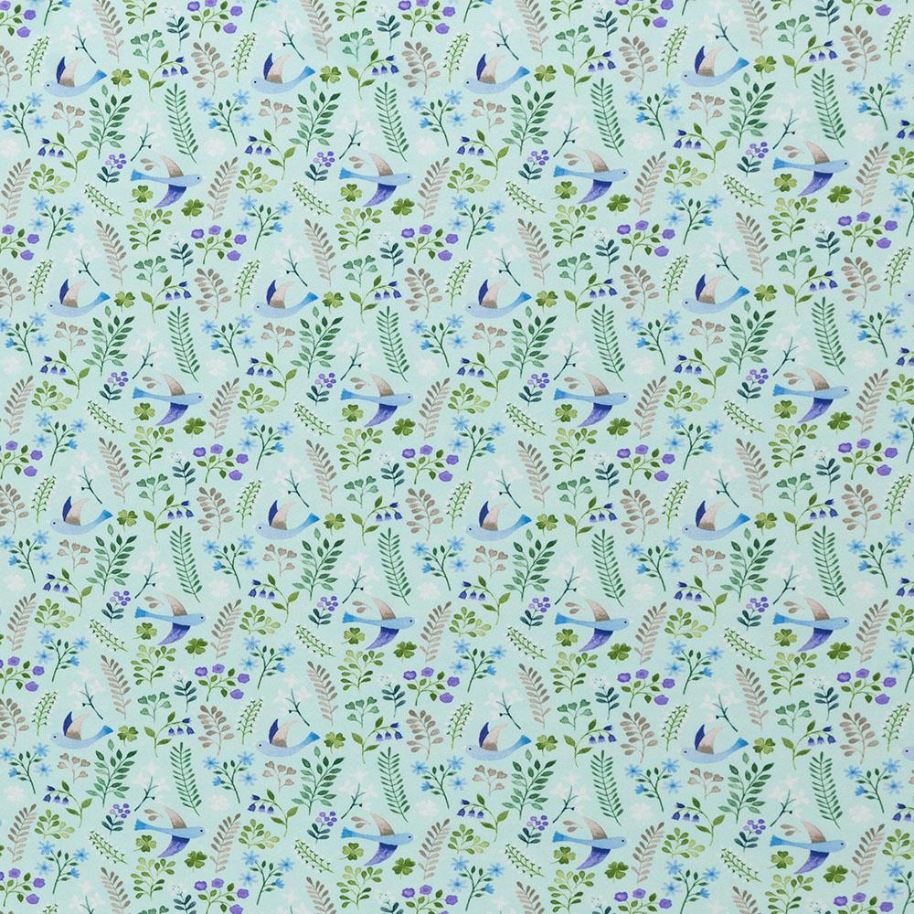 Jersey Little Spring mit Vögeln und Blättern von Swafing in blau