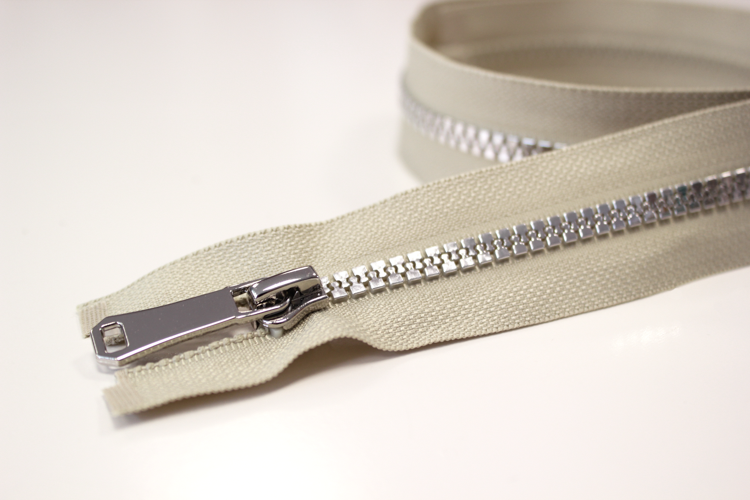 Jacken Reißverschluss teilbar 65cm in taupe-silber