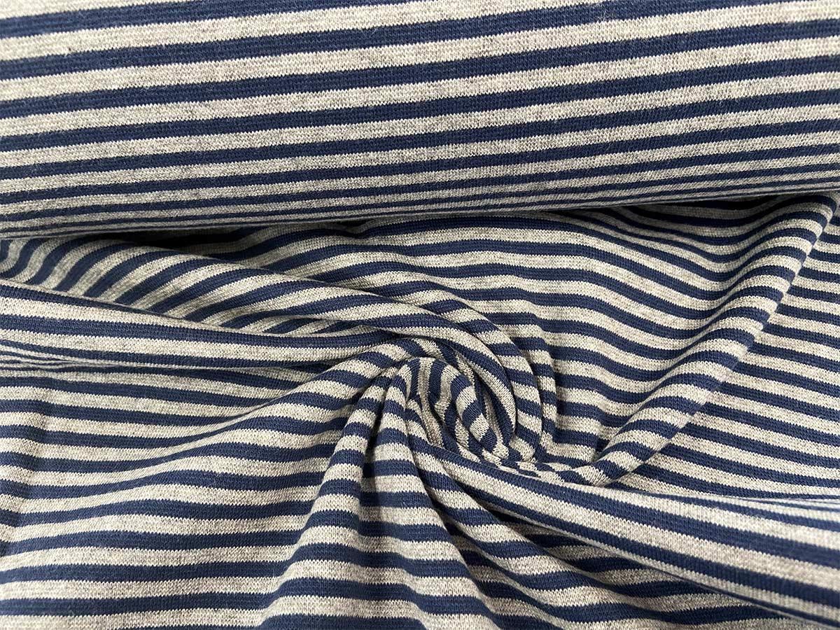 Bündchen - dunkelblau/grau gestreift