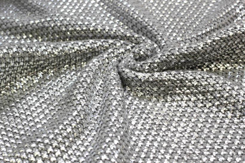Grober Strickstoff mit Perlenmuster in silber von Frowein