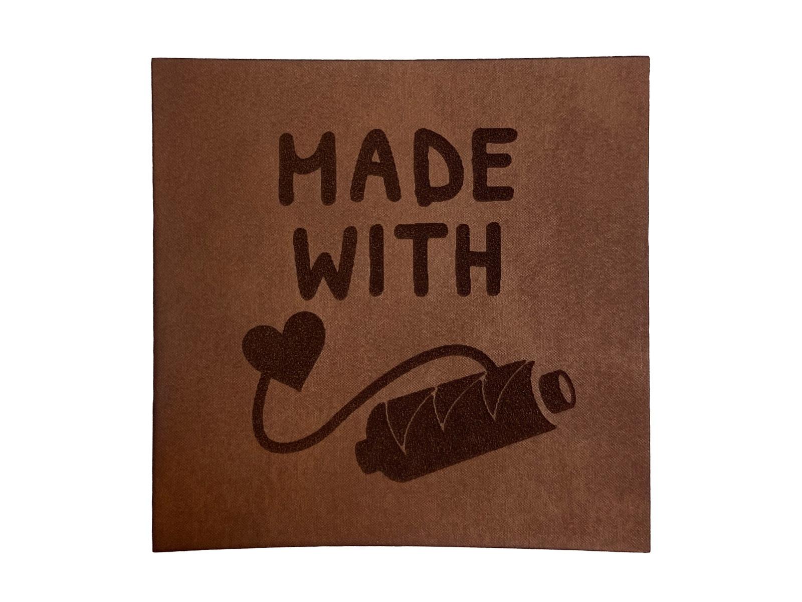 Label aus Kunstleder - Made with Love
