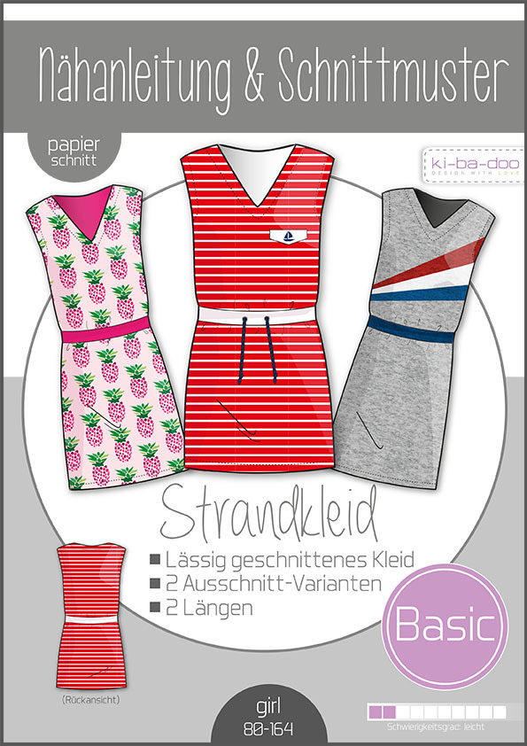 KI-BA-DOO Strandkleid Kleid Mädchen Papierschnittmuster