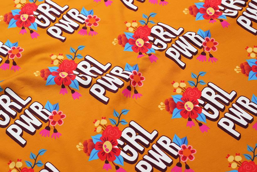 "Jersey - BLOOM ""Girl Power"" orange  - HAMBURGER LIEBE & ALBSTOFFE"