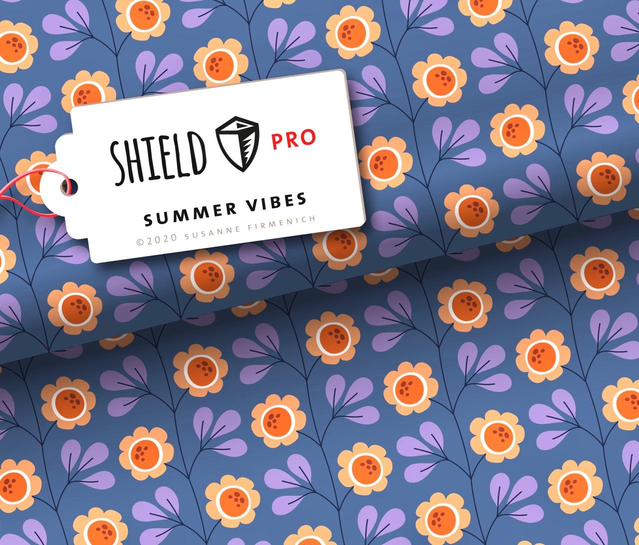Shield Pro - Summer Vibes Blau von Hamburger Liebe & Albstoffe - antimikrobiell für Atem-und Mundmasken!