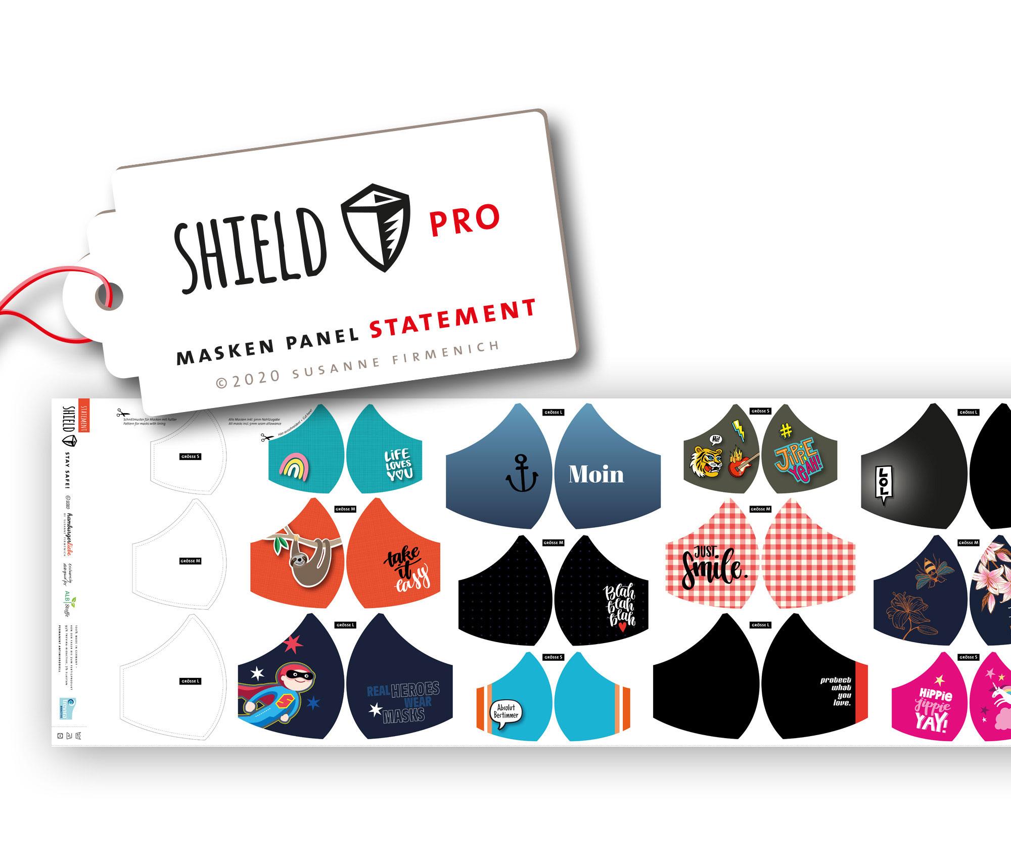 Shield Pro - Shield Panel STATEMENT rund von Hamburger Liebe & Albstoffe - antimikrobiell für Atem-und Mundmasken!