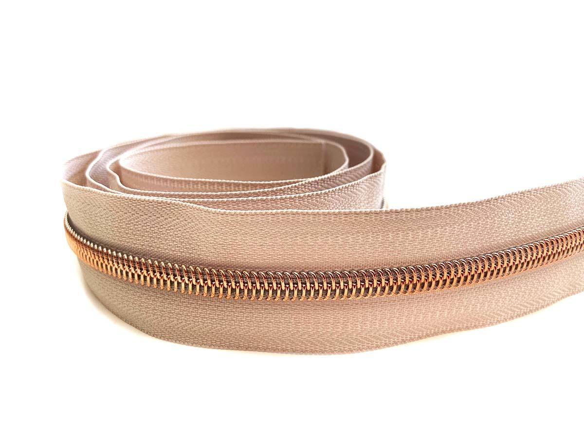Reißverschluss in beige/rosègold - 1m - endlos