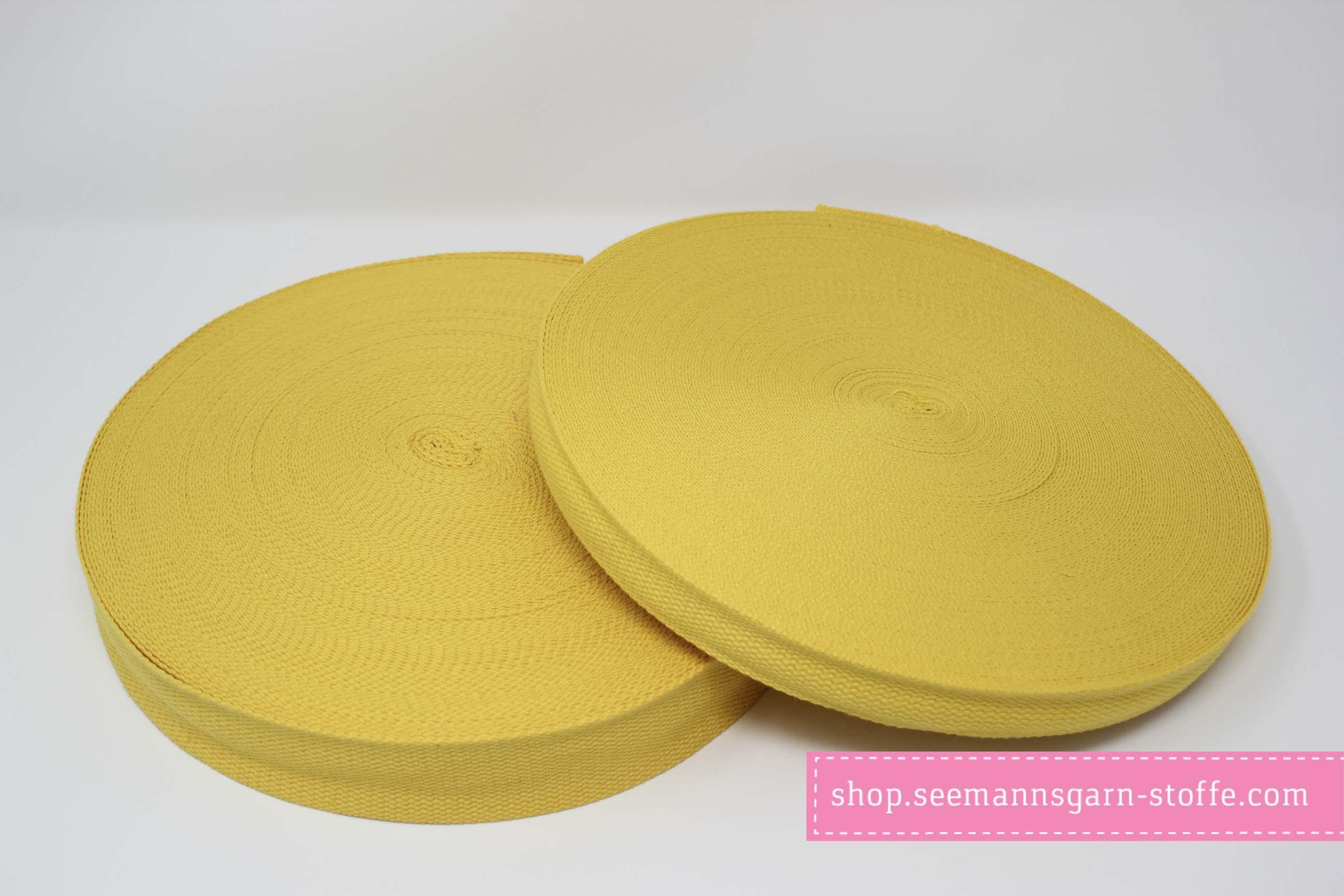 Baumwoll Gurtband gelb 25 mm