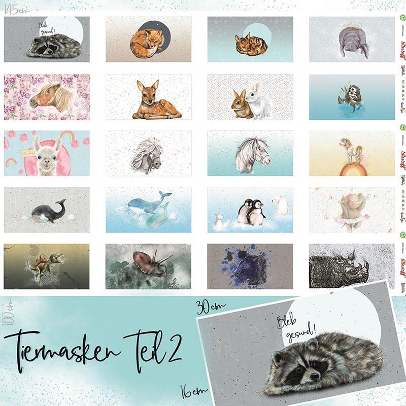 lillestoff Tiermasken aus Baumwolle - Panele