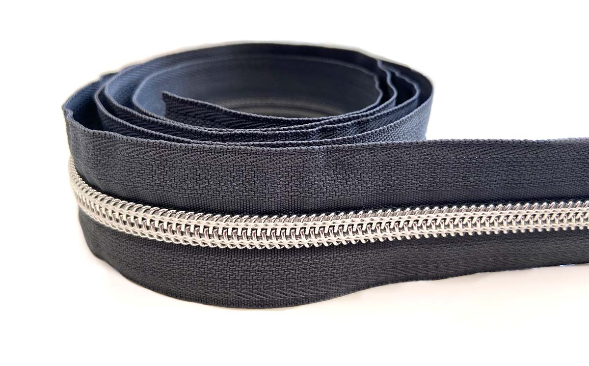Reißverschluss in anthrazit/silber - 1m - endlos