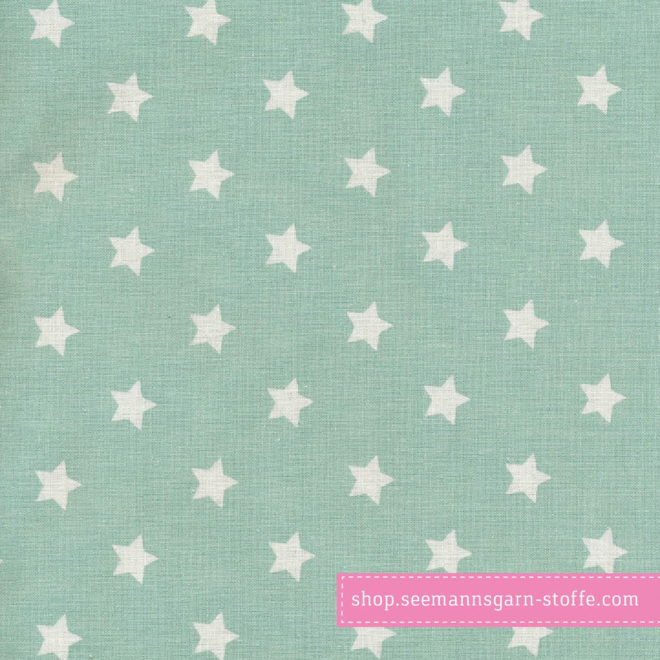 Wachstuch - Oilcloth Big Star Dusty Mint