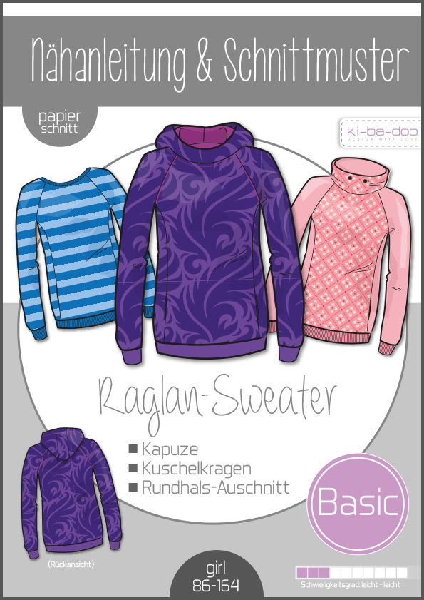 KI-BA-DOO Basic Raglan Sweater Papierschnittmuster