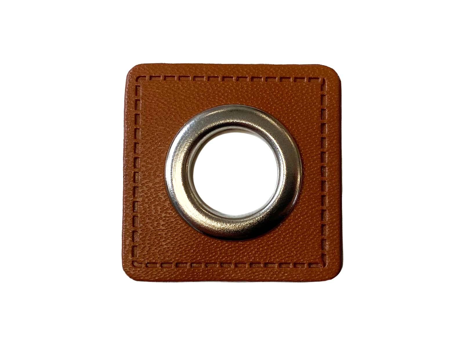 Ösen-Patch in braun - 13 mm Öse