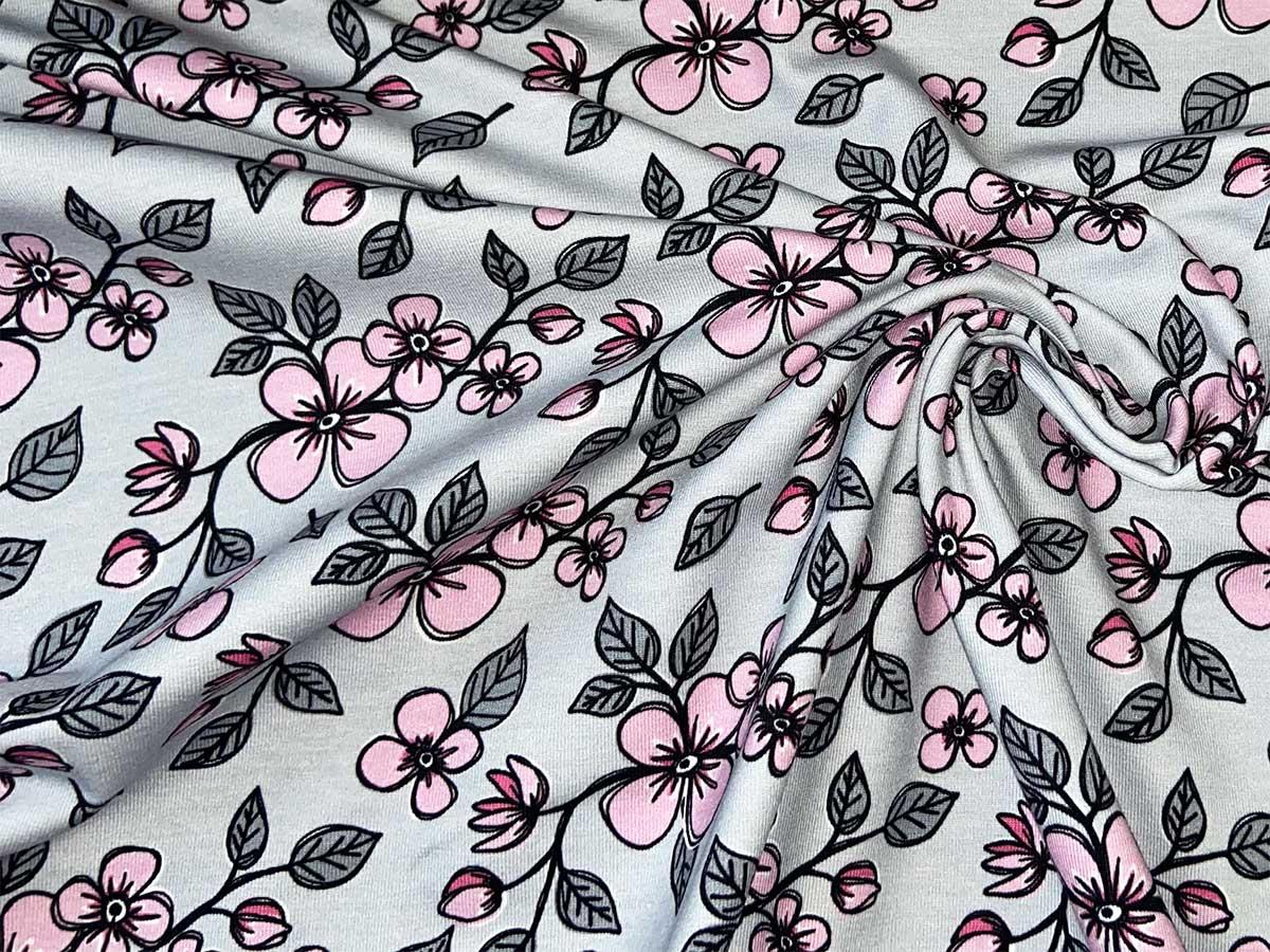 Jersey - Valerie Papillon Blumen by Steinbeck - rosa/grau - Swafing