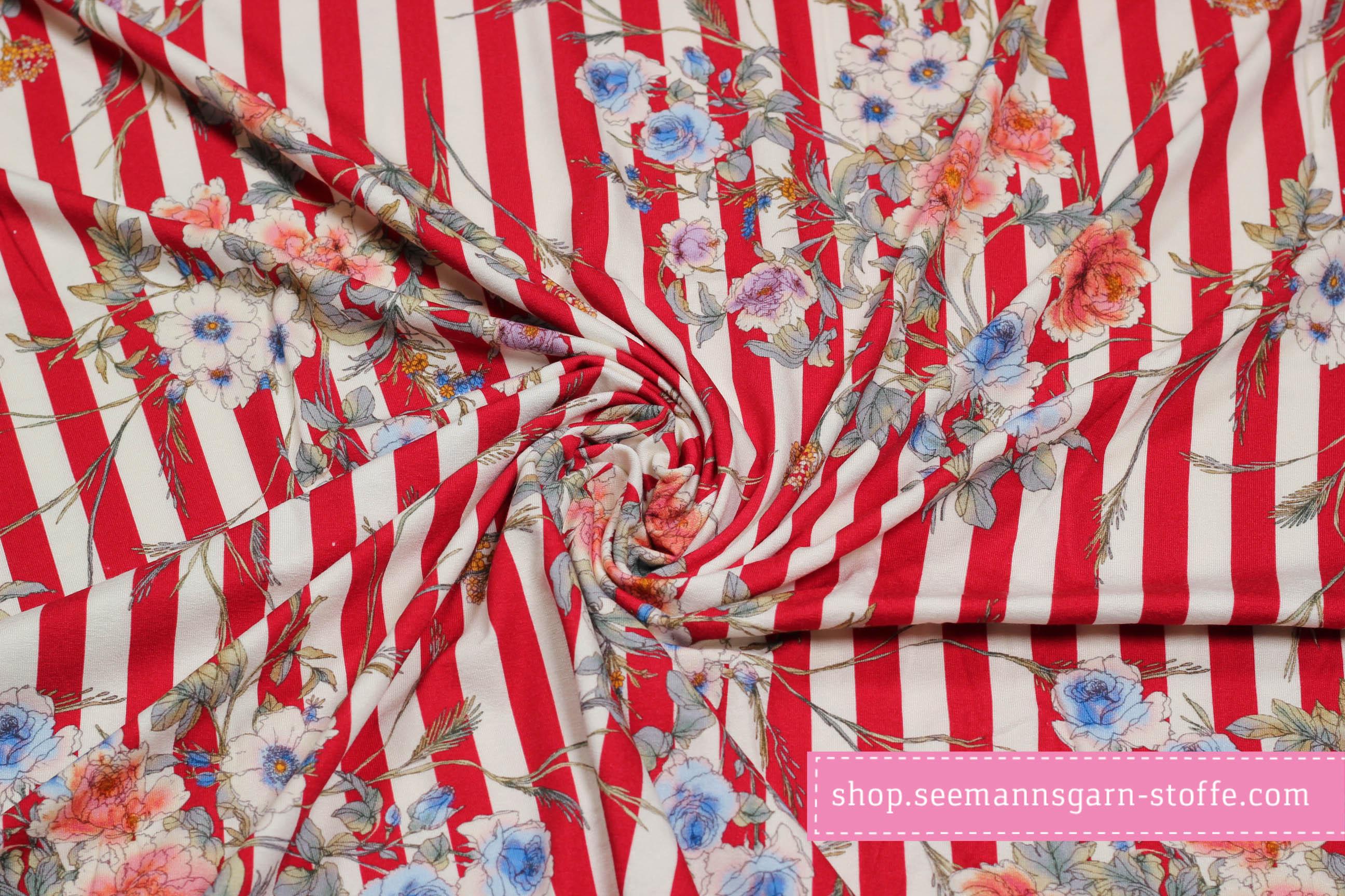Viskose Stretch Jersey - Streifen mit Blumenmuster