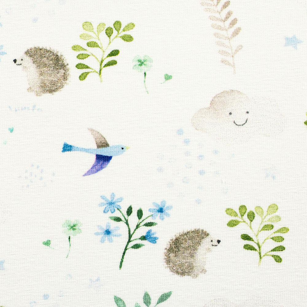 Jersey Little Spring mit Tieren und Blättern von Swafing in weiß/blau