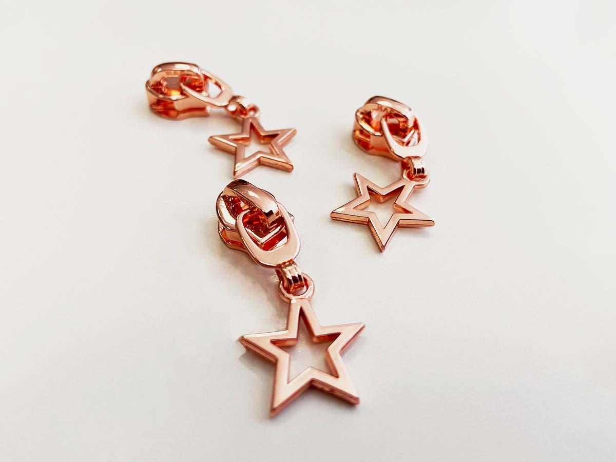 Zipper für Reißverschlüsse - Stern/rosègold