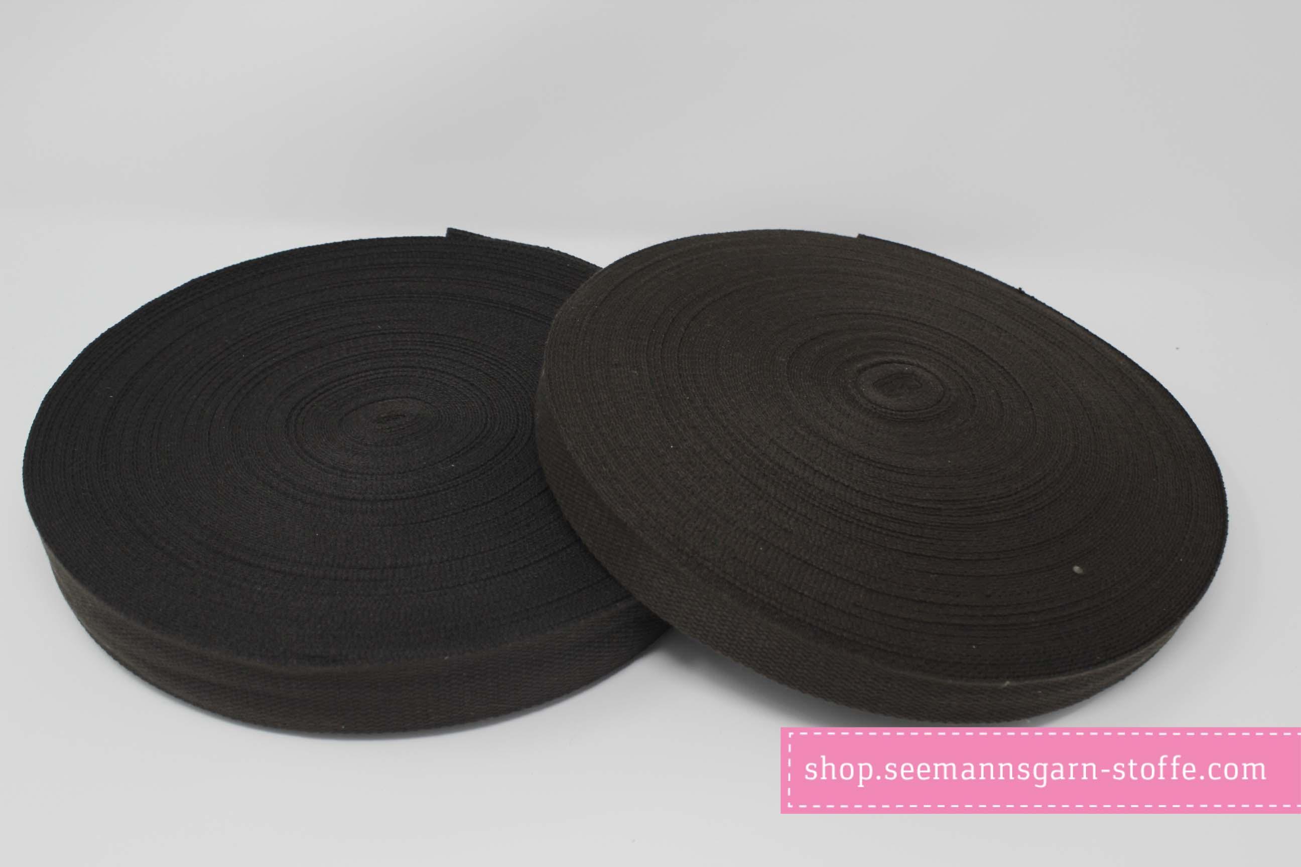 Baumwoll Gurtband dunkelbraun 25 mm