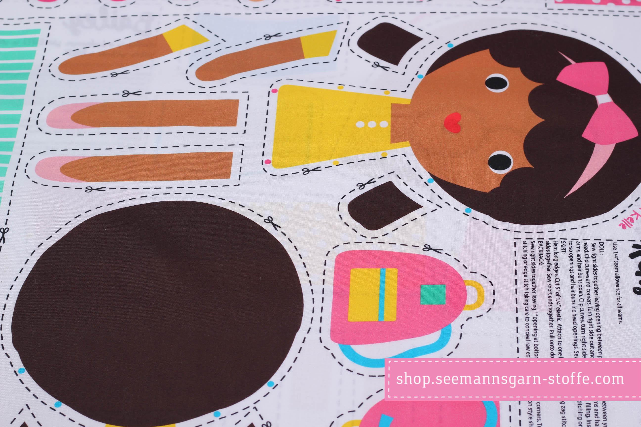 Webware Baumwolle Dekostoff - Girl Friends Doll Panel